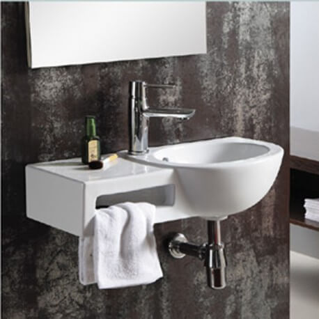 Lave main avec porte serviette, rectangulaire,63x39cm, céramique blanche, Atena