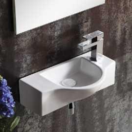 Lave main gain de place rectangulaire, 45x25 cm céramique blanche, Rio