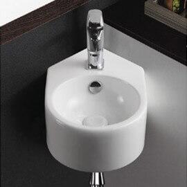 Lave main d'angle, rond, 42x27 cm, céramique blanche, Style