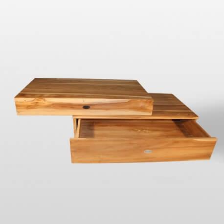 Plan sous vasque et tiroir, teck 90x50 cm, Compac