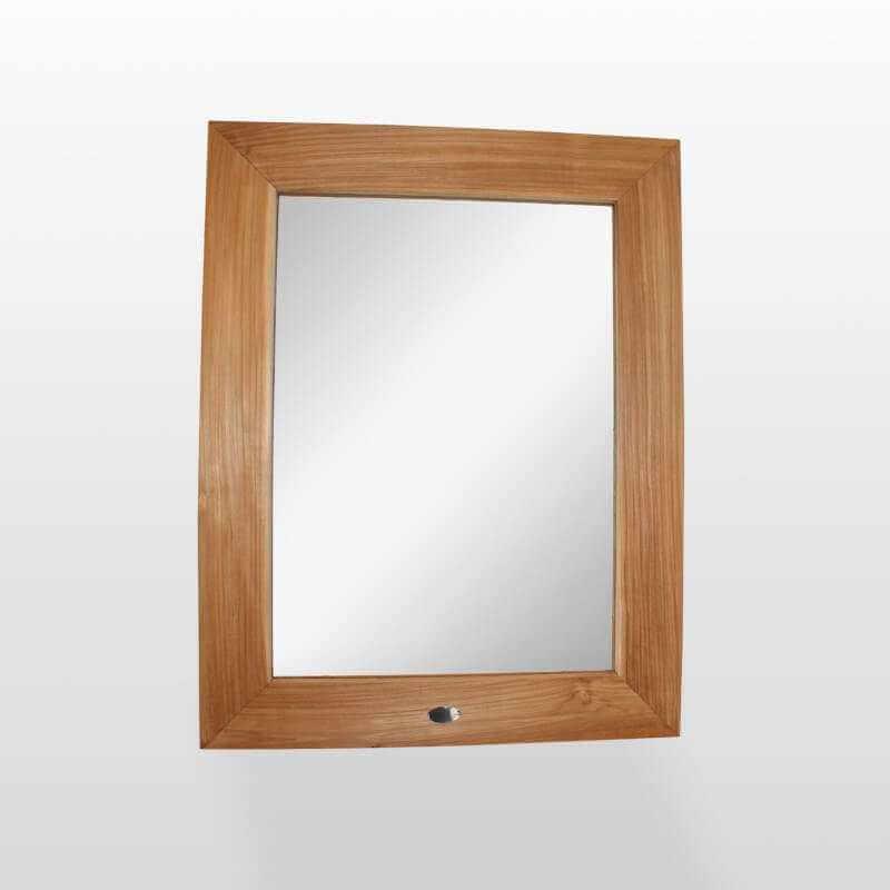 Miroir de salle de bain en teck 70x90 cm cadra - Miroir teck salle de bain ...
