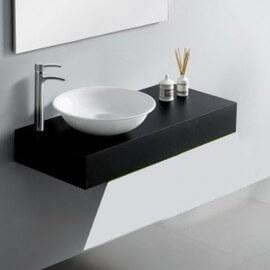 Plan Vasque Salle de Bain Laqué, 90x50 cm, Noir Brillant, Arcolor