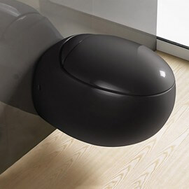 Wc  suspendu - avec abattant - céramique noir - 59x41 cm - Ove | Rue du Bain