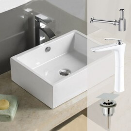 Vasque à poser rectangulaire, 51x36 cm, Céramique, Line.