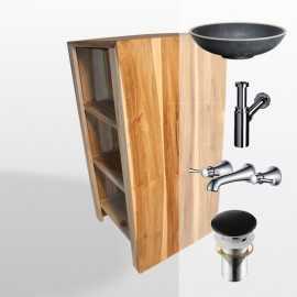 Pack meuble Fit+ vasque marbre élégant + bonde+ siphon+ robinet