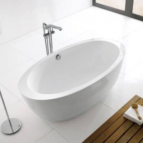 Baignoire acrylique blanc paris baignoire lot ovale for Baignoire ilot oeuf