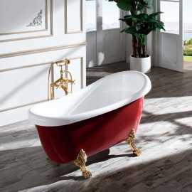 Baignoire ilot Ovale - Acrylique Rouge et Blanc - 150x72 cm -  Vérone