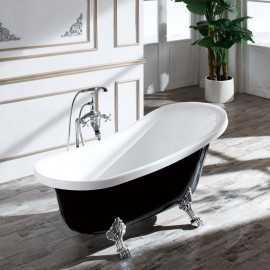 Baignoire ilot ovale blanche et noire | Rue du Bain