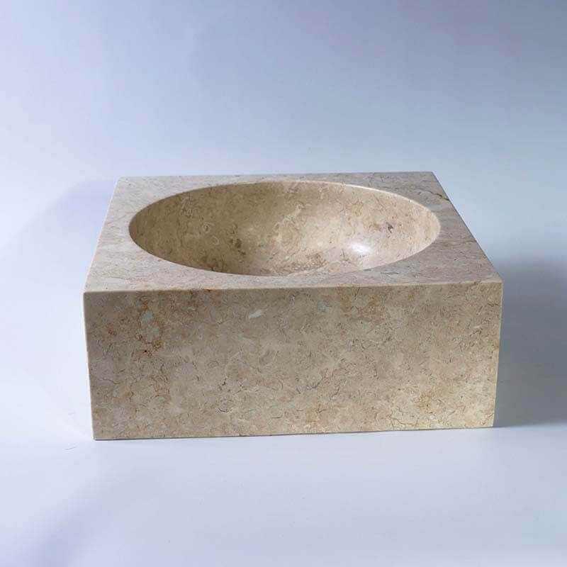 vasque carr e pierre beige focus vasque poser pierre rue du bain. Black Bedroom Furniture Sets. Home Design Ideas