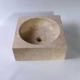 Vasque à poser carrée en pierre naturelle beige Focus | Rue du Bain