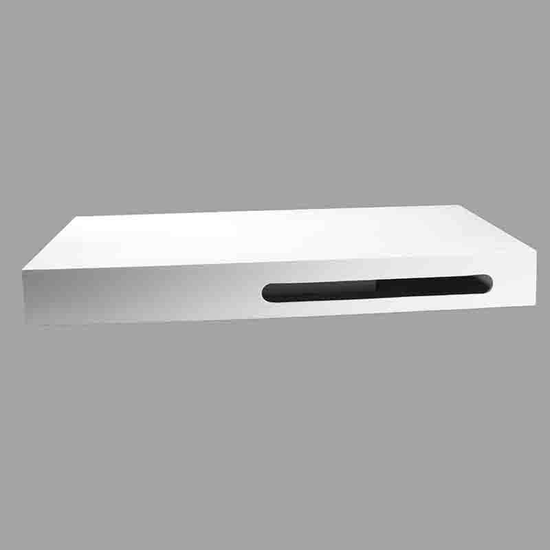 Plan vasque suspendu 90x50 cm corian blanc mat pour salle for Meuble salle de bain avec porte serviette