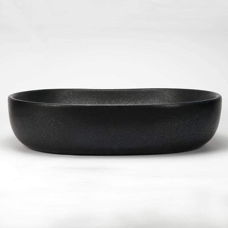 vasque poser ovale en c ramique mat extra vasque noir. Black Bedroom Furniture Sets. Home Design Ideas