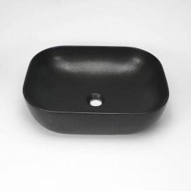 Vasque à poser céramique noir mat rectangulaire Maze | Rue du Bain