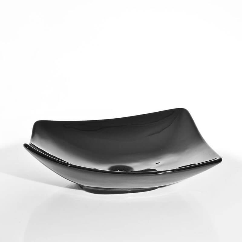 vasque poser noire asym trique feuille vente de. Black Bedroom Furniture Sets. Home Design Ideas