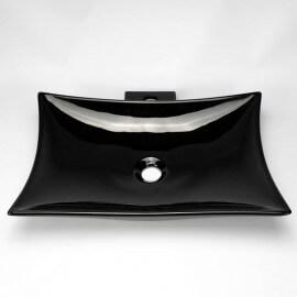 Vasque à Poser avec Plage Robinetterie - Céramique Noire - 57x39 cm - Wing