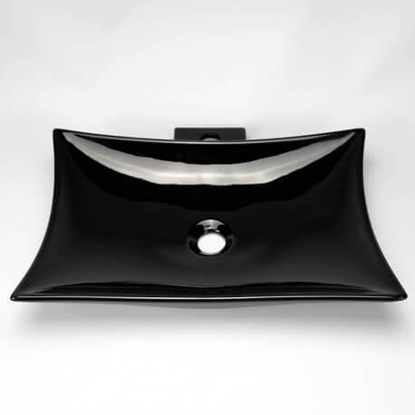 Vasque à poser noire céramique rectangulaire Wing | Rue du Bain