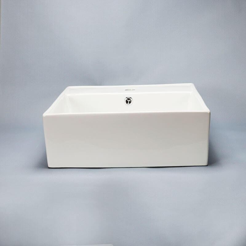 Vasque Céramique à Suspendre Avec Plage Latérale : Vasque carrée céramique blanc quadra à poser carré
