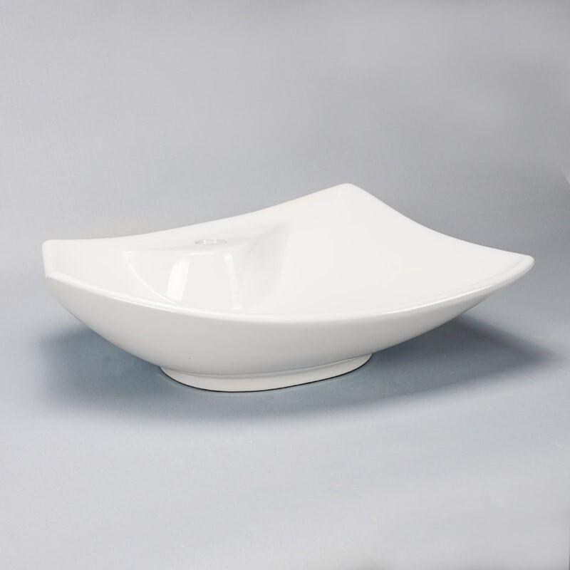 vasque asym trique blanc feuille vasque poser c ramique rue du bain. Black Bedroom Furniture Sets. Home Design Ideas