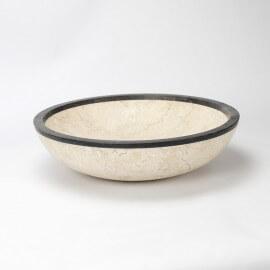 Vasque à Poser Ronde, Ø45 cm, Pierre Beige/Noire, Elégant