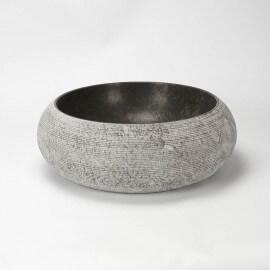 Vasque à poser ronde pierre naturelle noire Atoll| Rue du Bain