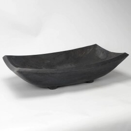 Vasque à poser rectangulaire pierre naturelle noire Plume| Rue du Bain