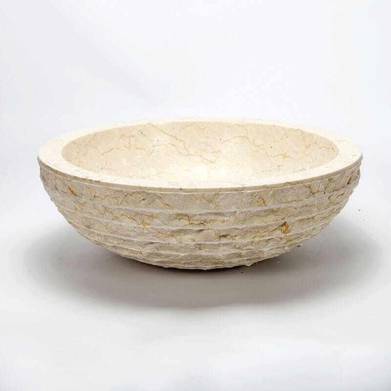 Vasque poser bol pierre beige strass vasque en pierre for Vasque exterieur pierre