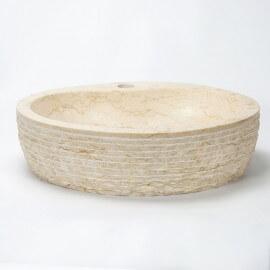 Vasque à poser ovale pierre naturelle beige Groove | Rue du Bain