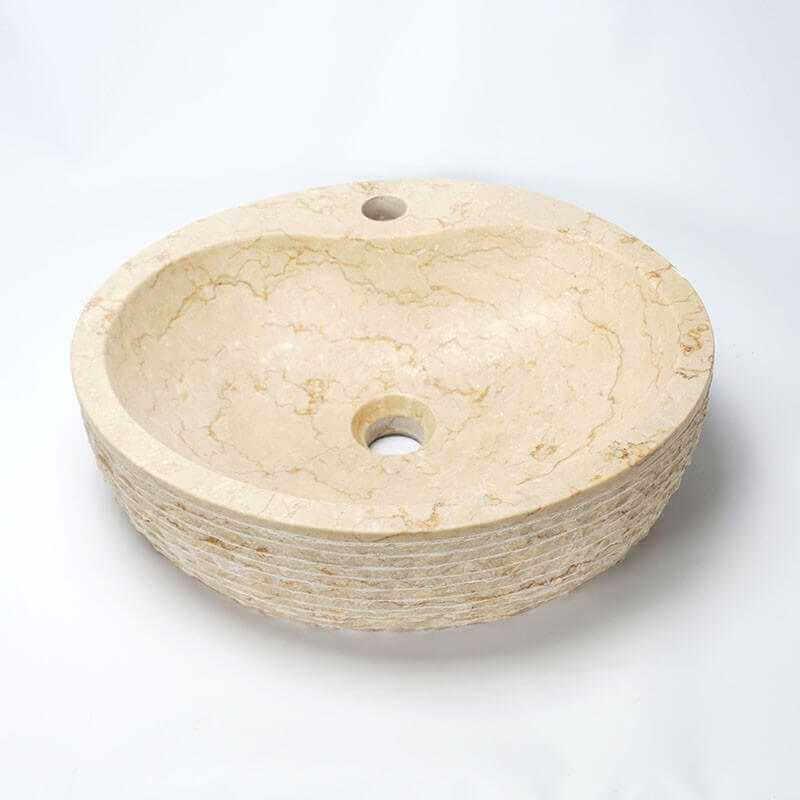 vasque ovale pierre beige groove vasque poser pierre. Black Bedroom Furniture Sets. Home Design Ideas
