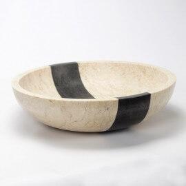 Vasque à poser ronde pierre naturelle beige et noire Edo | Rue du Bain