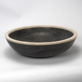Vasque à poser ronde pierre naturelle noire Elégant | Rue du Bain