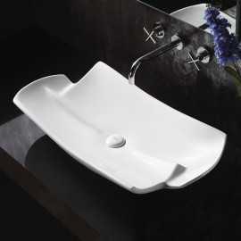 Vasque à poser asymétrique céramique Stage | Rue du Bain