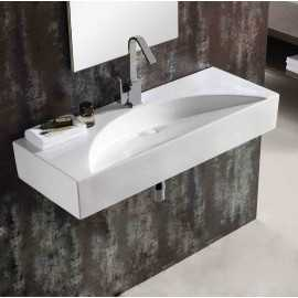 Lavabo suspendu rectangulaire Blanc céramique - 96x38 cm - Crescent