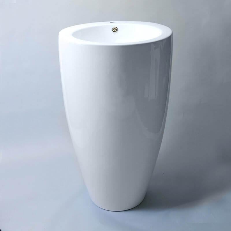 Lavabo totem rond 50x83 cm ove lavabo totem rue du bain for Ove salle de bain
