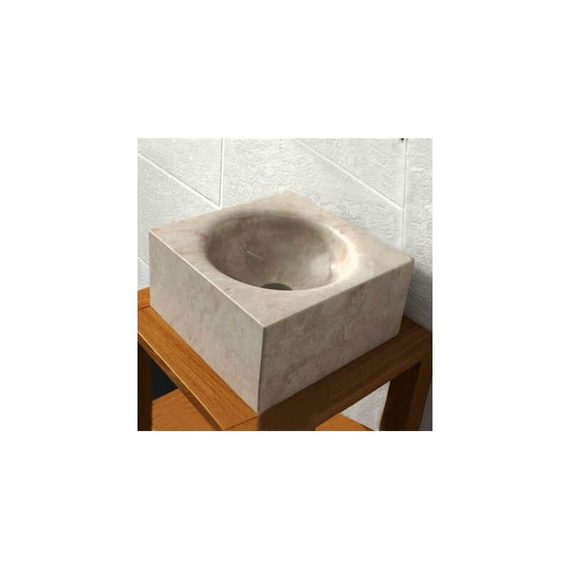 vasque carr e pierre beige focus vasque poser pierre. Black Bedroom Furniture Sets. Home Design Ideas