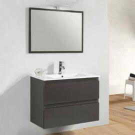 Meuble de salle de bain Gris anthracite 2 tiroirs + vasque et miroir Led - 80x46 cm - Mia