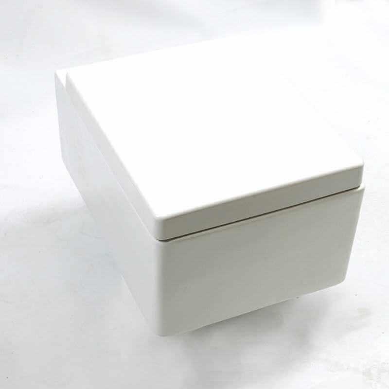 wc suspendu rectangulaire 52x39 cm blanc avec abattant kube. Black Bedroom Furniture Sets. Home Design Ideas