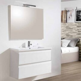 Meuble salle de bain Blanc 2 tiroirs - Double vasque - Miroir LED - 80x46 cm - City