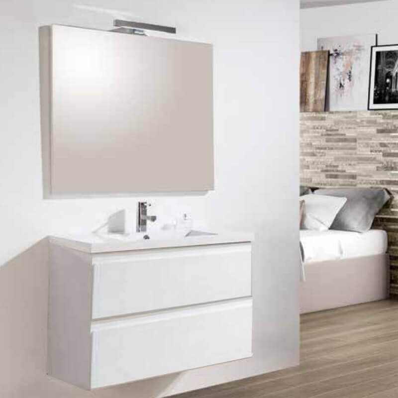 Meuble suspendu laqu blanc salle de bain simple vasque - Meuble salle de bain mdf ...