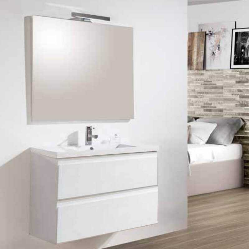meuble de salle de bain blanc vasque et miroir led mia rue du bain. Black Bedroom Furniture Sets. Home Design Ideas