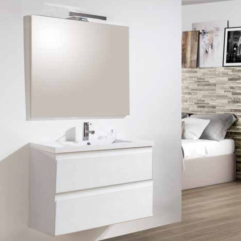 Meuble de salle de bain Blanc+ vasque et miroir Led Mia| Rue du Bain