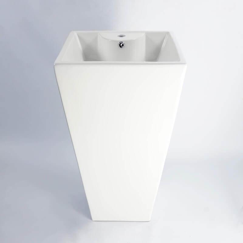 Lavabo totem carr c ramique 48x83 cm line rue du bain - Lavabo ceramique blanc ...