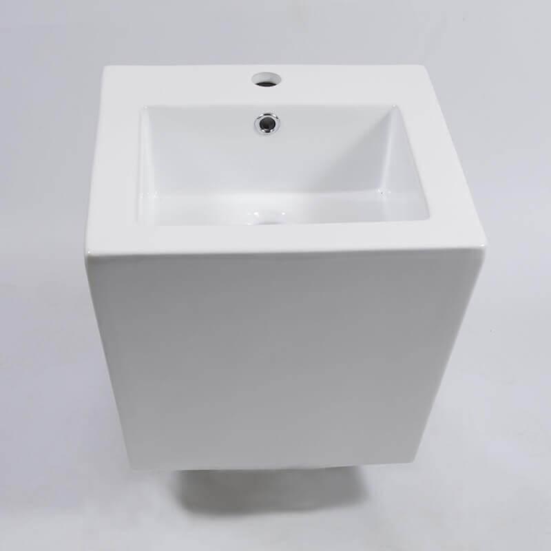 Vasque Céramique à Suspendre Avec Plage Latérale : Lavabo carré suspendu céramique rue du
