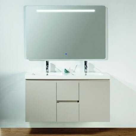 Meuble de salle de bain 2 tiroirs + vasque et miroir Led 120x46 cm, Caramel, Mia