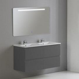 Meuble de salle de bain 4 tiroirs + vasque et miroir Led 120x46 cm, Gris anthracite , Mia