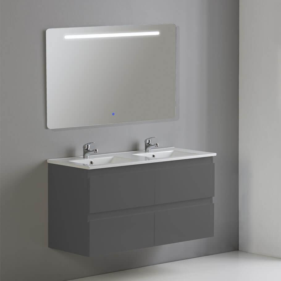 meuble de salle de bain 4 tiroirs 2 vasques et miroir led 120x46 cm gris anthracite mia - Meuble Double Vasque A Poser 2