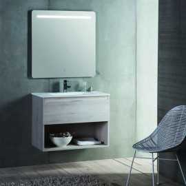 Meuble de salle de bain 1 tiroir + vasque et miroir Led - 60x46 cm - Jade