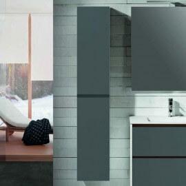 Colonne de salle de bain, 2 portes, 160x30 cm, gris anthracite, Mia