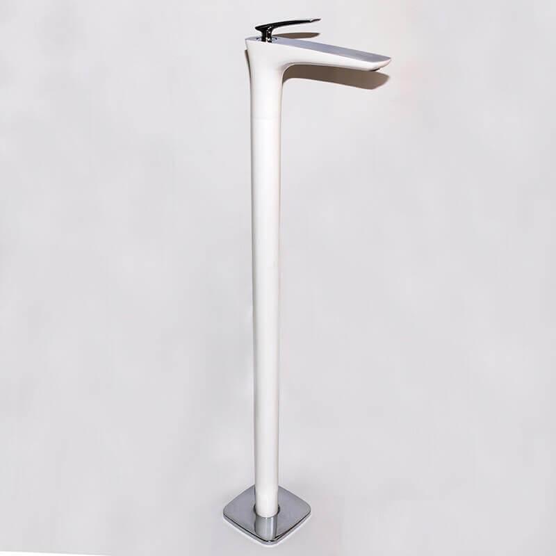 Robinet mitigeur lavabo vasque totem sur pied blanc concep 39 t - Robinet bain sur pied ...
