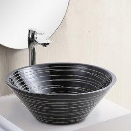 Vasque à Poser Bol - Céramique Noire rainurée Blanc - 42 cm – Gap