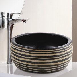 Vasque à Poser Ronde - Céramique rainurée Noire et Beige - 41 cm – Etnic